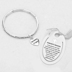 Serenity Prayer Bracelet Stretch Heart Charm  New
